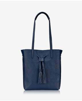 GiGi New York | Hannah Tote In Navy Embossed Python | Navy embossed python