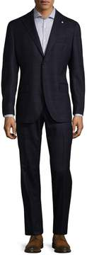 Lubiam Men's Plaid Virgin Wool Suit