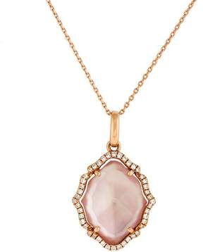 Frederic Sage 18k Pg Medium Marquis Smooth Top Pink Mop, Crystal and Diamond Tivoli Pendant With Chain