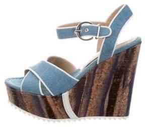 Barbara Bui Denim Wedge Sandals w/ Tags