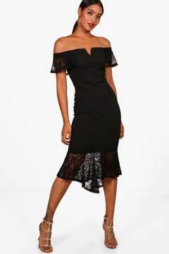 boohoo Lace Frill Off the Shoulder Midi Dress