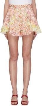 Zimmermann 'Goldie' ruffle patchwork floral print linen shorts
