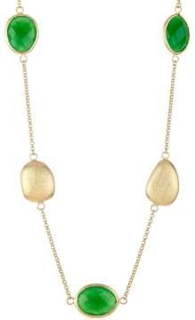 Rivka Friedman 18K Gold Clad Green Quartzite & Satin Pebble Necklace