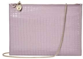Aspinal of London | Soho Clutch In Deep Shine Lilac Small Croc Smooth Lilac | Deep shine lilac small croc