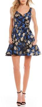 B. Darlin Jacquard Fit-And-Flare Dress