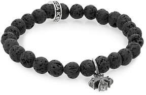 King Baby Studio Men's Lava Rock & Sterling Silver Beaded Cross Bracelet