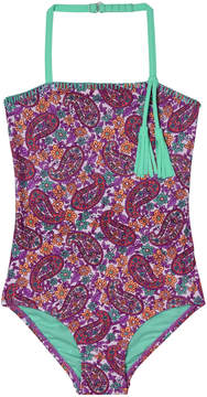 Hula Star Purple & Teal Paisley Tassle-Accent One-Piece - Toddler & Girls