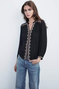 Velvet by Graham & Spencer REMI BEADED BUTTON UP TOP