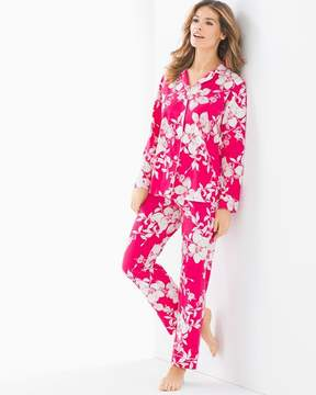 BedHead Knit Cotton-Blend Pajama Set Rouge Country Blossoms