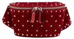 Valentino Rockstud Spike Quilted Velvet Belt Bag - Womens - Red