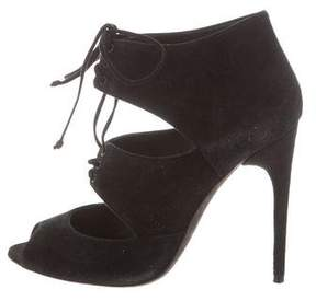 Tom Ford Lace-Tie Peep-Toe Booties