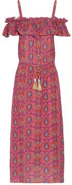 Figue Maya Cold-shoulder Printed Cotton-blend Gauze Dress - Pink