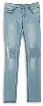 Vigoss Girl's Sequined Washed Jeans