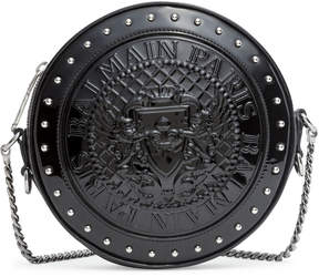 Balmain Disco round black patent cross-body bag
