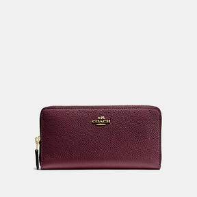 COACH Coach Accordion Zip Wallet - LIGHT GOLD/OXBLOOD - STYLE