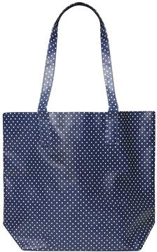 Navy Spot Print PVC Shopper Bag