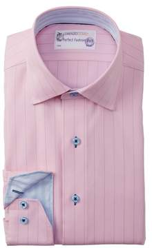 Lorenzo Uomo Textured Twill Trim Fit Dress Shirt