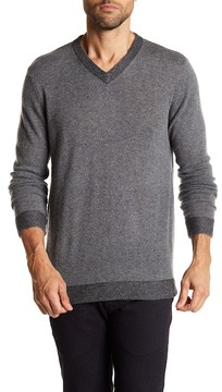 Autumn Cashmere Ribbed Trim V-Neck Cashmere Sweater