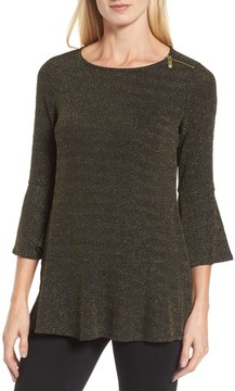 Chaus Women's Glitter Bell Sleeve Top