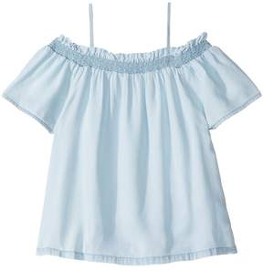 DL1961 Kids Bleached Off the Shoulder Top Girl's Clothing