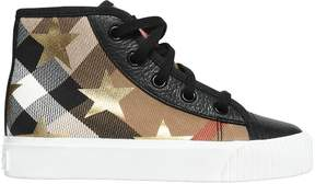 Burberry Stars & Check Canvas High Top Sneakers