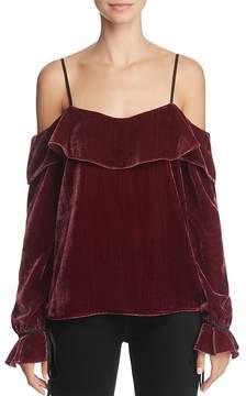 WAYF Cold-Shoulder Velvet Top