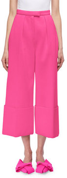 DELPOZO Cuffed Wide-Leg Pants, Blue