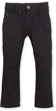 Givenchy Jeans w/ Faux-Leather Trim, Black, Size 6-10