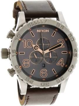 Nixon Men's 51-30 Chrono Leather A1242064 Silver Japanese Quartz Fashion Watch