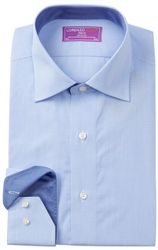 Lorenzo Uomo Micro Gingham Trim Fit Dress Shirt