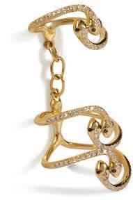 Ileana Makri Yellow Gold Snake Parade Ring with Diamonds