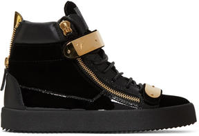 Giuseppe Zanotti Black Velvet London High-Top Sneakers