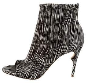 Jerome C. Rousseau Zebra Print Peep-Toe Booties