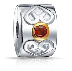 Celtic Bling Jewelry Heart Simulated Garnet Clasp Cz Stopper Bead Charm .925 Sterling Silver.