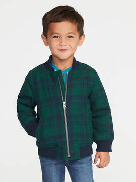 Old Navy Sherpa-Lined Plaid Flannel Bomber Jacket for Toddler Boys