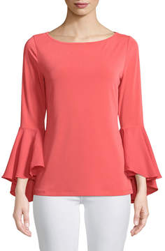 Joan Vass Stretch-Crepe Flutter-Sleeve Top