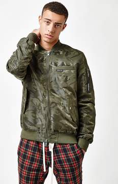 Members Only Jacquard Camouflage Bomber Jacket