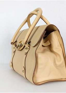 Mulberry Cream Leather Fold Over Satchel Bag