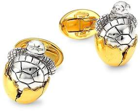 Jan Leslie Men's Sterling Silver Hatching Turtle Cufflinks