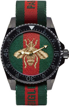 Gucci Green and Red Web Bee Dive Watch
