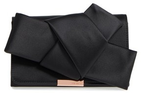 Ted Baker Fefee Satin Knotted Bow Clutch - Black