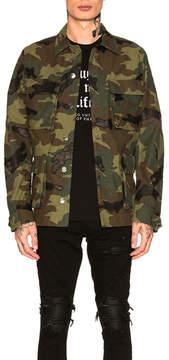 Amiri Camo Leather Field Jacket