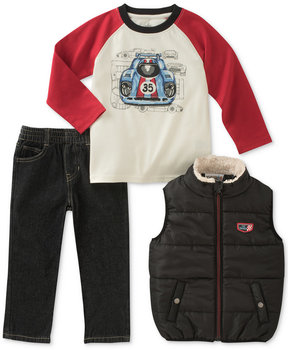 Kids Headquarters Kid's Headquarters 3-Pc. Graphic-Print T-Shirt, Vest & Jeans Set, Little Boys (4-7)