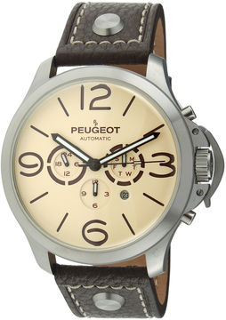 Peugeot Mens Brown Leather Strap Big Number Automatic Watch