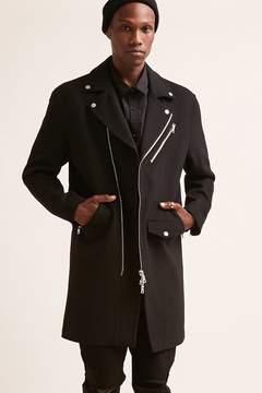 21men 21 MEN Wool-Blend Longline Moto Jacket