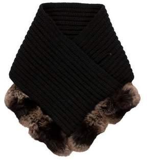 Loro Piana Rib Knit Fur-Trimmed Scarf