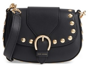 Marc Jacobs Small Studded Navigator Leather Saddle Bag - Black