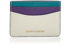 Marc Jacobs Color Block Saffiano Leather Card Case - BRIGHT TEAL/GOLD - STYLE