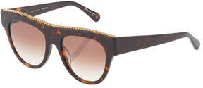 Stella McCartney Square Tortoise Chain-Trim Sunglasses