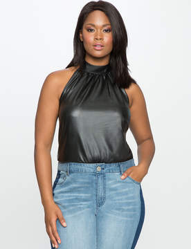 ELOQUII Faux Leather Halter Bodysuit